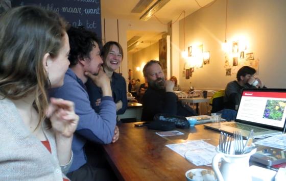 Vlnr: Greet, Bram, Lise en Pieter